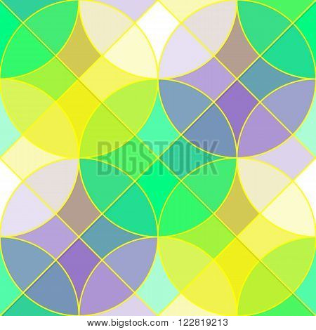 Colorful geometric tile vector seamless pattern. Abstract geometric seamless ornament consists of circles and squares in spring color palette vector EPS8.