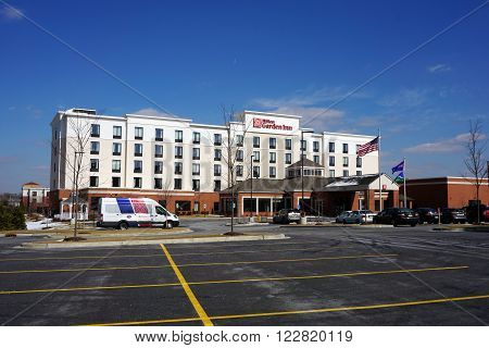 BOLINGBROOK, ILLINOIS / UNITED STATES - MARCH 4, 2016: The Hilton Garden Inn offers lodging for visitors in Bolingbrook.