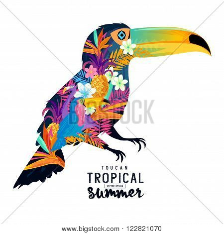 Tropical Summer Toucan. Abstract Toucan bird with various tropical elements.