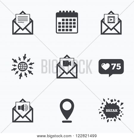 Calendar, like counter and go to web icons. Mail envelope icons. Message document symbols. Video and Audio voice message signs. Location pointer.