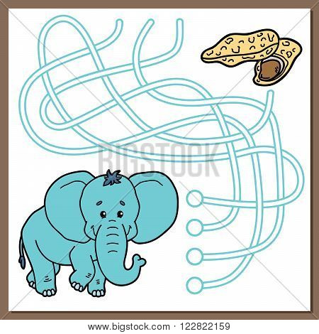 Cute elephant game. Vector illustration of maze (labyrinth) game with cute cartoon elephant for children