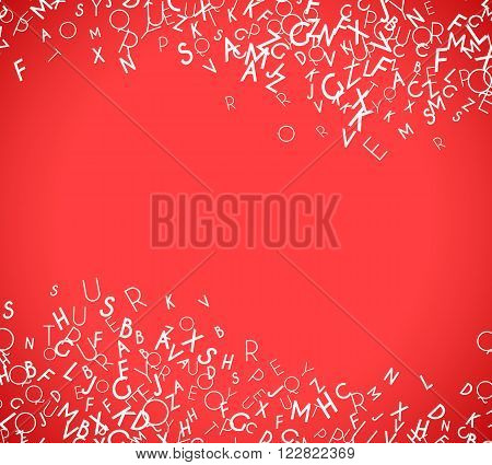 Abstract white alphabet ornament border isolated on red background. Vector illustration for education writing design. Stripe of random letters fly in middle. Alphabet book concept for grammar school
