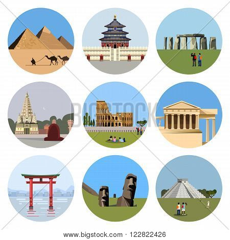 World landmarks flat icon set. Vector travel illustration. Monument sign. Egypt pyramid, Temple of Heaven, Stonehenge, Mahabodhi, Colosseum, Italy Pantheon, torii gate, Moai, Mesoamerican pyramids