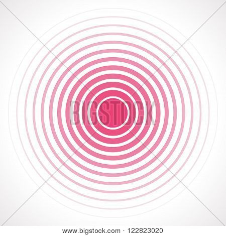 Concentric circle elements. Vector illustration for sound wave. Red and white color ring. Circle spin target. Radio station signal. Center minimal radial ripple line outline abstractionism