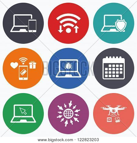 Wifi, mobile payments and drones icons. Notebook laptop pc icons. Virus or software bug signs. Shield protection symbol. Mouse cursor pointer. Calendar symbol.