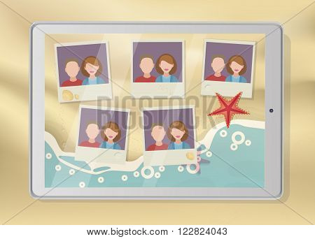 Tablet with pictures placeholders on the beach vector