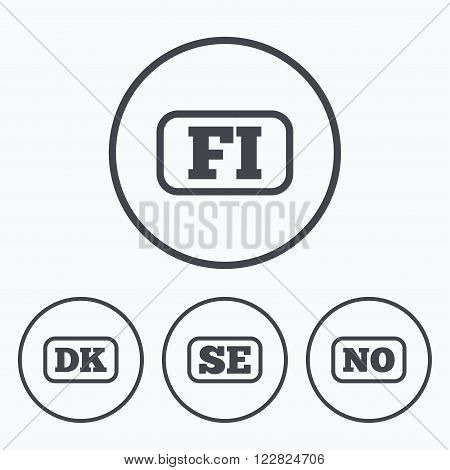 Language icons. FI, DK, SE and NO translation symbols. Finland, Denmark, Sweden and Norwegian languages. Icons in circles.