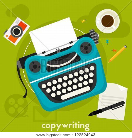 Copywriting concept banner. Square composition, vector illustration