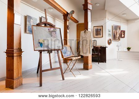 Riga Latvia 26 August 2015: Artistic studio of latvian artist Janis Rozentals in museum of Art Nouveau style located at Alberta Street 12 in Riga Latvia.