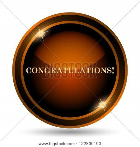 Congratulations icon. Internet button on white background. poster