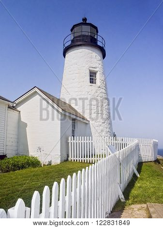 The Pemaquid Point Lighthouse near Bristol Maine was featured on Maine's state quarter.