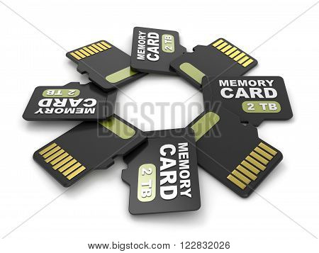 MicroSD memory cards front and back view 2 TB. Circular arrangement. 3D render illustration isolated on white background