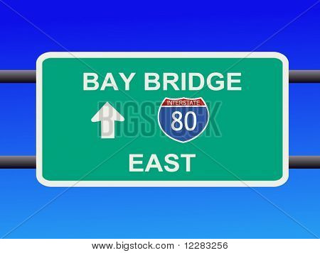 Bay Bridge Interstate 80 sign San francisco illustration