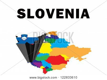 Outline map of Eastern Europe with Slovenia raised and highlighted with the national flag