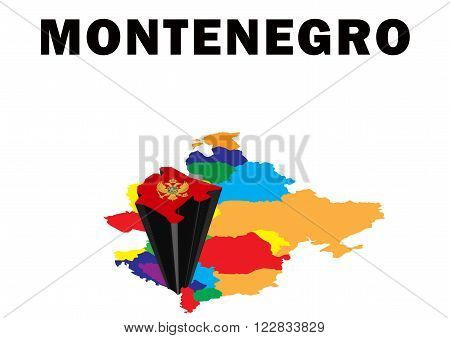 Outline map of Eastern Europe with Montenegro raised and highlighted with the national flag