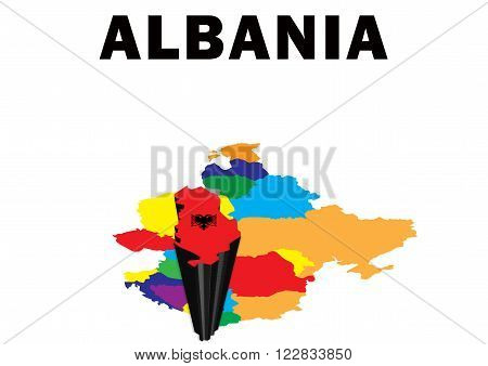 Outline map of Eastern Europe with Albania raised and highlighted with the national flag