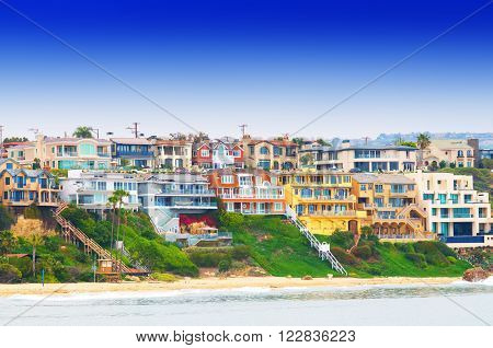 beach houses at Corona Del Mar California USA
