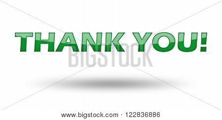 Phrase Thank you with green letters and shadow. Illustration, isolated on white