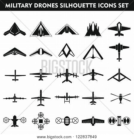 Set icons of quadrocopter hexacopter multicopter and drone isolated on white. Vector illustration