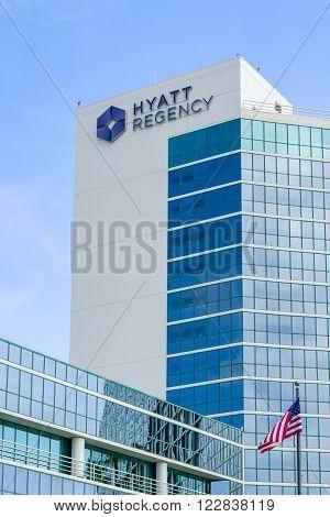 LONG BEACH, CA/USA - MARCH 19, 2016: Hyatt Regency Hotel. Hyatt Hotels Corporation is an American international company and operator of hotels.