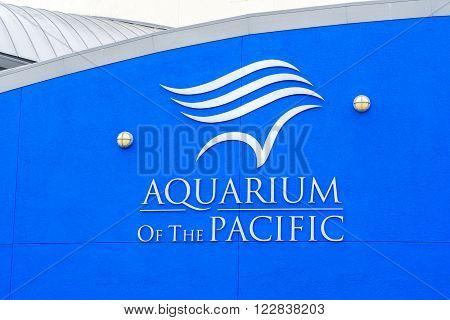 LONG BEACH, CA/USA - MARCH 19, 2016: Aquarium of the Pacific exterior and logo. The Aquarium of the Pacific is a public aquarium.