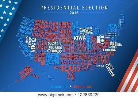Vector 2016 USA Presidential Election Map of state words