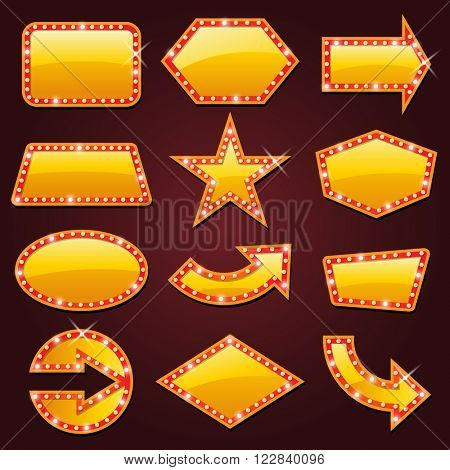 Brightly golden glowing retro cinema neon sign