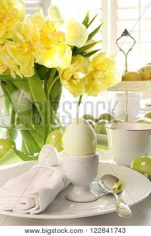 Closeup of place setting for Easter brunch