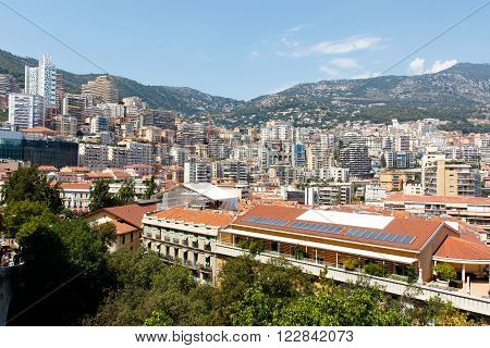 Color DSLR stock image of skyline of Monte Carlo in Monaco on the French Riviera. Horizontal with copy space for text