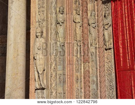 Medieval relief from Verona Cathedral romanesque portal with saints prophets and Roland paladin the holy warrior created by sculptor Nicholaus in 12th century