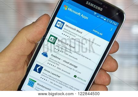 MONTREAL CANADA - MARCH 20 2016 - Microsoft Office mobile applications on Samsung S5's screen. Microsoft Office is one of the most popular office suite software.