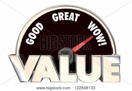 Value Top Best High Good Buy Purchase Speedometer 3d Words