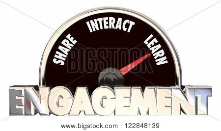 Engagement Level Share Involve Interact Communicate 3d Words