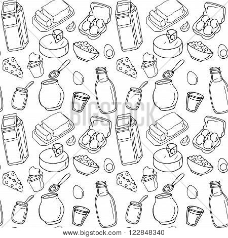 Seamless pattern. Vector dairy products. Milk, cheese, butter, yogurt, cheese, sour cream, eggs. Healthy food set. Breakfast. Hand drawn illustration on a white background