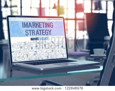 Imarketing Strategy Concept - Closeup on Landing Page of Laptop Screen in Modern Office Workplace. Toned Image with Selective Focus. 3D Render.