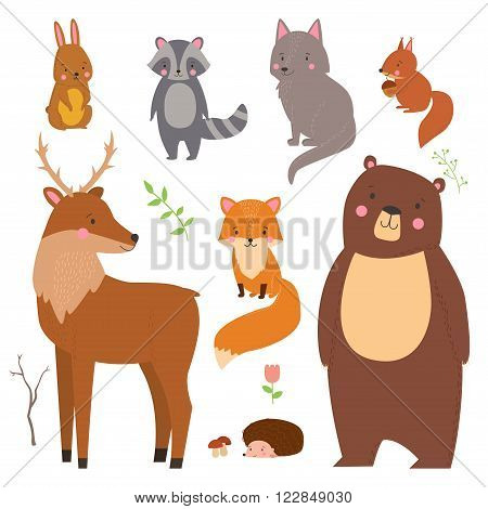 Set of cute illustration of woodland animals isolated on white background. Animals for design posters card postcard in children room or fabric