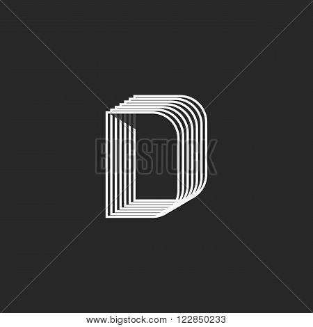 Linear Letter D Logo Monogram, Offset Parallel Geometric Line, Creative Graphic Emblem
