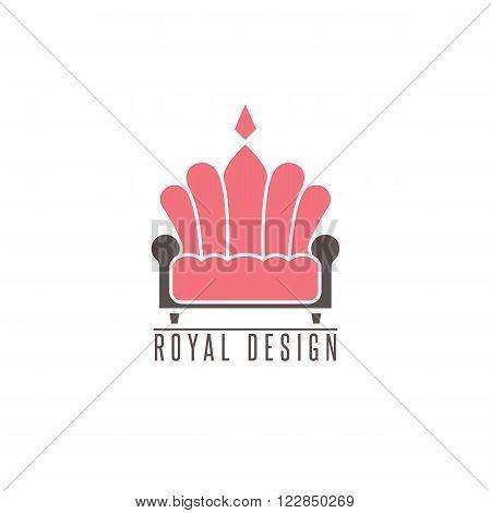 Furniture Logo Sofa, Interior Design Creative Mockup Emblem Shape Crown, Comfort Divan Icon