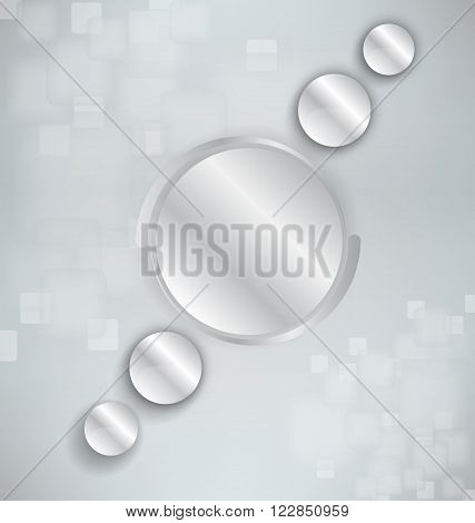 Abstract background with silver and realistic spheres
