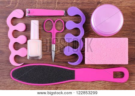 Cosmetics and accessories for manicure or pedicure scraper pumice nail polish and remover scissors nail clippers pedicure separators concept of nail hand and foot care