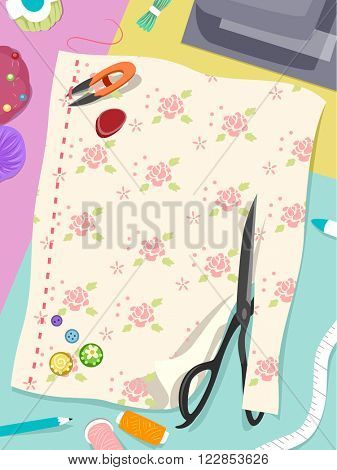 Illustration Featuring Colorful Sewing Notions