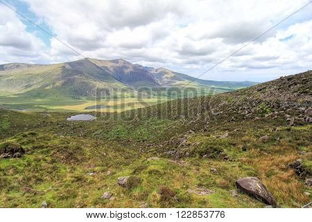 Beautiful landscape of mountains in Connor Pass, Ireland