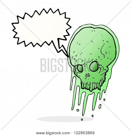 cartoon slimy skull with speech bubble