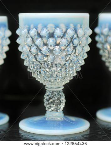 Vintage opalescent blue hobnail liqueur glasses