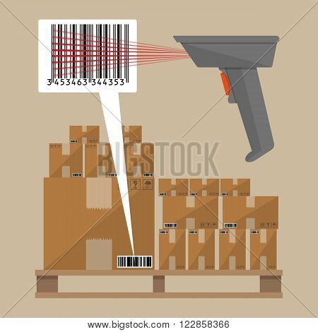 Gray barcode reader scanner with cardboard delivery boxes on wooden pallet. Vector illustration in flat design on brown background
