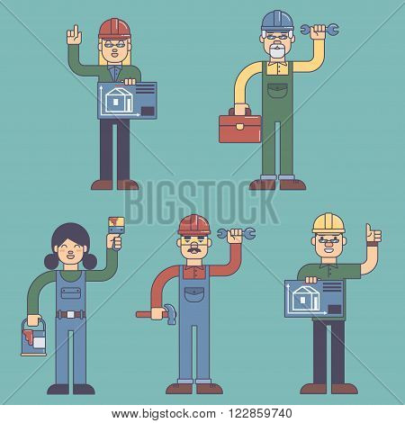 Flat colorful vector illustration Construction workers builders architects people esp10