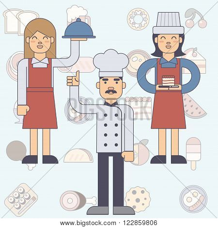 Chef cook man and woman waitress in uniform in flat style. Vector esp10