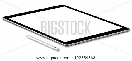 Black tablet computer and pen, isolated on white background. Whole render in focus.