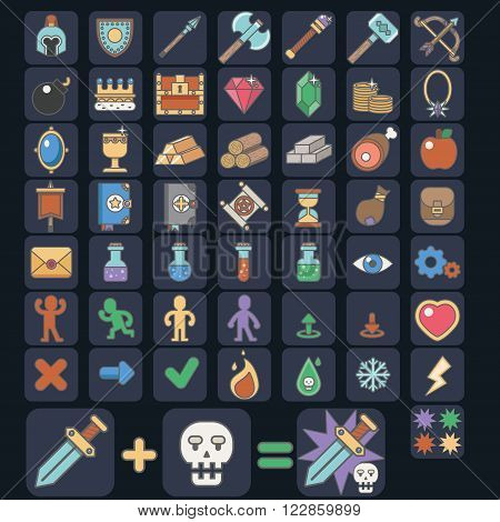 Flat colorful vector illustration Game 52 icon set, vector esp10