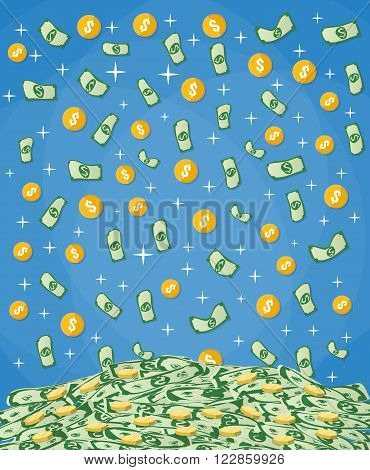 Falling Money dollars and gold coins into big pile of cash. vector illustration in flat design on blue background